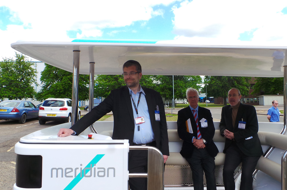 The 'Meridian Navya' driverless vehicle being demonstrated in Oxford.