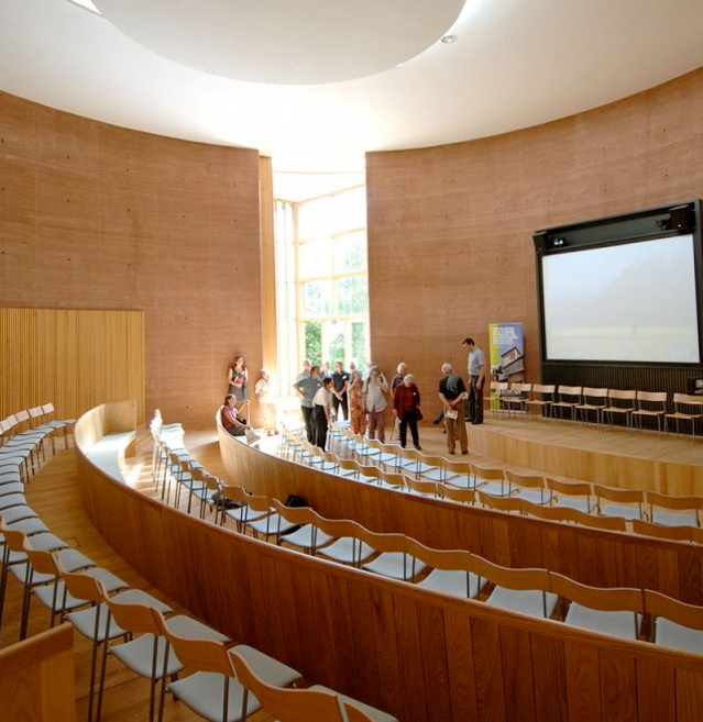 Lecture theatre at WISE boasting rammed earth walls
